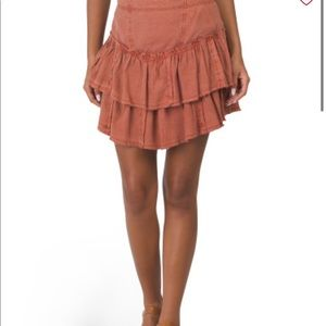 Free People Ruffles in the Sand brown mini skirt